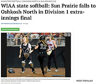 Sun Prairie's catcher, Chloe Knoernschild, yells to the infield as Oshkosh North's Brooke Ellestad scores the 4th run Saturday night, as Sun Prairie pitcher, Maddie Gardner, looks on. Oshkosh North tops Sun Prairie 4-2 in nine innings to win the championship game of the 2019 Division 1 Wisconsin WIAA girls state high school softball tournament on June 8, at Goodman Diamond in Madison, Wisconsin | Wisconsin State Journal article front page Sports 6/9/19 and online at https://madison.com/wsj/sports/high-school/softball/wiaa-state-softball-sun-prairie-falls-to-oshkosh-north-in/article_5f48a15d-cc0e-5d40-bec5-aa0ac3fb6a21.html
