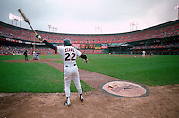 SAN FRANCISCO, CA - Will Clark of the San Francisco Giants swings a bat in the on deck circle during a game at Candlestick Park in San Francisco, California in 1988. Photo by Brad Mangin