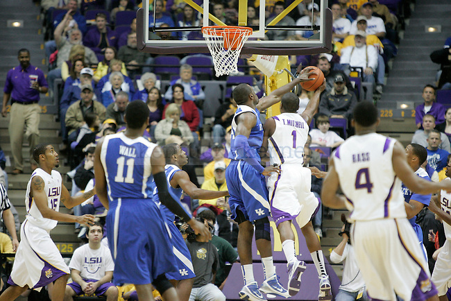 Junior forward Patrick Patterson makes a block against LSU during the first half at Pete Maravich Assembly Center on Saturday, Feb. 6, 2010. Photo by Scott Hannigan | Staff