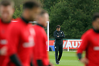 Pictured: Manager Chris Coleman watches his players train. Monday 02 October 2017<br />