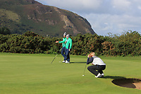 Alex Gleeson and Caolan Rafferty from Ireland on the 11th green after Round 1 Foursomes of the Men's Home Internationals 2018 at Conwy Golf Club, Conwy, Wales on Wednesday 12th September 2018.<br /> Picture: Thos Caffrey / Golffile<br /> <br /> All photo usage must carry mandatory copyright credit (© Golffile | Thos Caffrey)