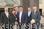 WELCOME: Mags maguire of RSVP welcoming Bill Cullen to the RSVP Business Breakfast at Musckross Breakfast Killarney on Friday. l-r: Seamus O'Donovan (President Tralee Chamber), Margaret Maguire, Kevin Sanquest, Bill Cullen, Stephen Byrne and Michael Mulcahy........