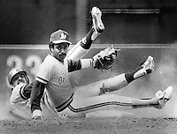 Oakland Athletics 2nd baseman Tony Phillips with putout. (1984 photo by Ron Riesterer)