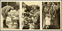 BNPS.co.uk (01202 558833)<br /> Pic: ChalkwellAuctions/BNPS<br /> <br /> The carefully orchestrated pictures show the Fuhrer with a fawn and greeting children.<br /> <br /> Found in a cardboard box...a meticulous account ofthe pre war rise of the cult of Hitler.<br /> <br /> An incredible picture archive that charts the rise of Hitler believed to have been meticulously documented by a fan of the Fuhrer has emerged for sale.<br /> <br /> The collection of propaganda photographs show Adolf Hitler on a charm offensive in the 1920s and 30s - before the evil dictator started the Second World War and eliminated at least five million Jews in the Holocaust.<br /> <br /> Some of the images try to show a softer side to the Nazi leader, with him feeding a small deer and accepting a bouquet from a young girl.<br /> <br /> Others chillingly show the hype created around him - rows of people performing the straight-arm Nazi salute, a young boy beaming as Hitler signs an autograph for him and a group of girls giggling as they chat to the party leader.
