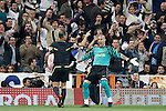 FC Barcelona's Victor Valdes have words with the referee during la Liga match on April 16th 2011...Photo: Cesar Cebolla / ALFAQUI