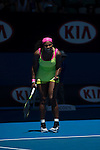 Serena Williams (USA) defeats Vera Zvonareva (RUS)  at the Australian Open being played at Melbourne Park in Melbourne, Australia on January 22, 2015