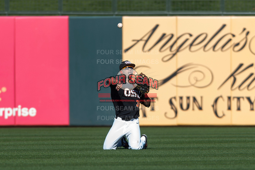 Oregon State Beavers center fielder Preston Jones (33) throws after after making a diving catch during a game against the Gonzaga Bulldogs on February 16, 2019 at Surprise Stadium in Surprise, Arizona. Oregon State defeated Gonzaga 9-3. (Zachary Lucy/Four Seam Images)