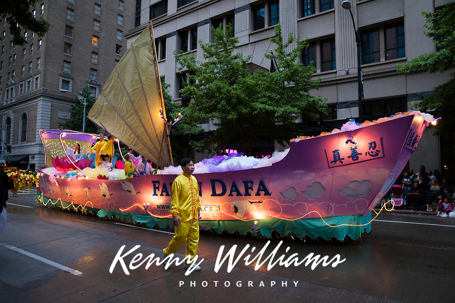 Lighted Pink Ship Float, Seafair Torchlight Parade 2015, Seattle, Washington State, WA, America, USA.