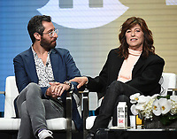 "BEVERLY HILLS - AUGUST 2: Executive Producer/Showrunner/Writer Dave Holstein and Catherine Keener onstage during the ""Kidding"" panel at the Showtime portion of the Summer 2019 TCA Press Tour at the Beverly Hilton on August 2, 2019 in Los Angeles, California. (Photo by Frank Micelotta/PictureGroup)"