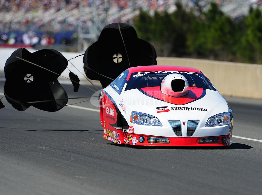 Mar. 12, 2011; Gainesville, FL, USA; NHRA pro stock driver Richard Freeman during qualifying for the Gatornationals at Gainesville Raceway. Mandatory Credit: Mark J. Rebilas-.