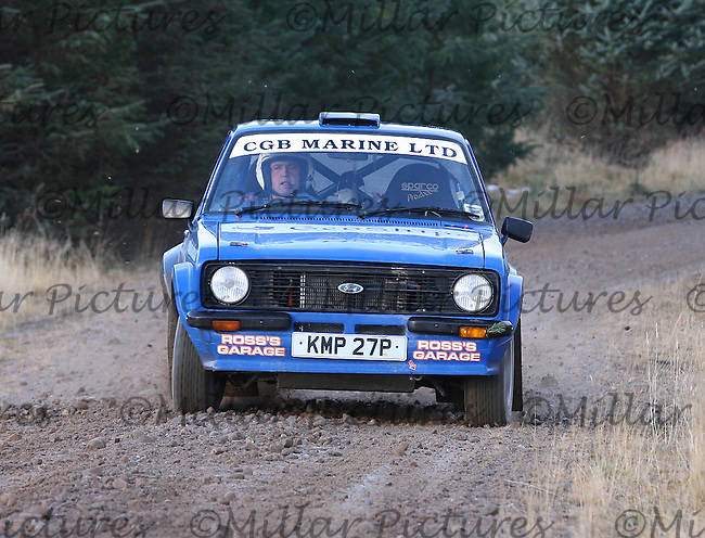 Malcolm Buchanan at the Shakedown Stage for the Arnold Clark Thistle Snowman Rally 2013, Round 1 of the RAC MSA Scottish Rally Championship  sponsored by ARR Craib Transport Limited which was organised by Highland Car Club and based in Inverness on 15.2.13.