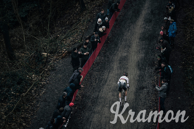 CX world champion Wout Van Aert (BEL/Crelan-Charles) solo-ing in front<br /> <br /> Elite Men's race<br /> UCI CX World Cup Namur / Belgium 2017