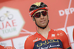 Vincenzo Nibali (ITA) Bahrain-Merida at sign on before the start of Stage 3 of the 2019 UAE Tour, running 179km form Al Ain to Jebel Hafeet, Abu Dhabi, United Arab Emirates. 26th February 2019.<br /> Picture: LaPresse/Fabio Ferrari | Cyclefile<br /> <br /> <br /> All photos usage must carry mandatory copyright credit (© Cyclefile | LaPresse/Fabio Ferrari)