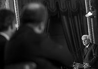Il Presidente della Repubblica Sergio Mattarella durante la cerimonia della consegna del Ventaglio da parte della Stampa Parlamentare, al Quirinale, Roma, 30 luglio 2015.<br /> Italian President Sergio Mattarella meets the press at the Quirinale presidential palace, Rome, 30 July 2015.<br /> UPDATE IMAGES PRESS/Riccardo De Luca
