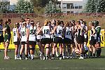 Santa Barbara, CA 02/18/12 -  The Cal Poly SLO team during a time out at the 2012 Santa Barbara Shootout.  Colorado defeated Cal Poly SLO 8-7.