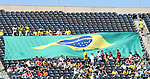 09 September 2007: Brazil fans unfurl a giant flag. The Brazil Men's National Team defeated the United States Men's National Team 4-2 at Soldier Field in Chicago, Illinois in an international friendly labeled the Clash of Champions.