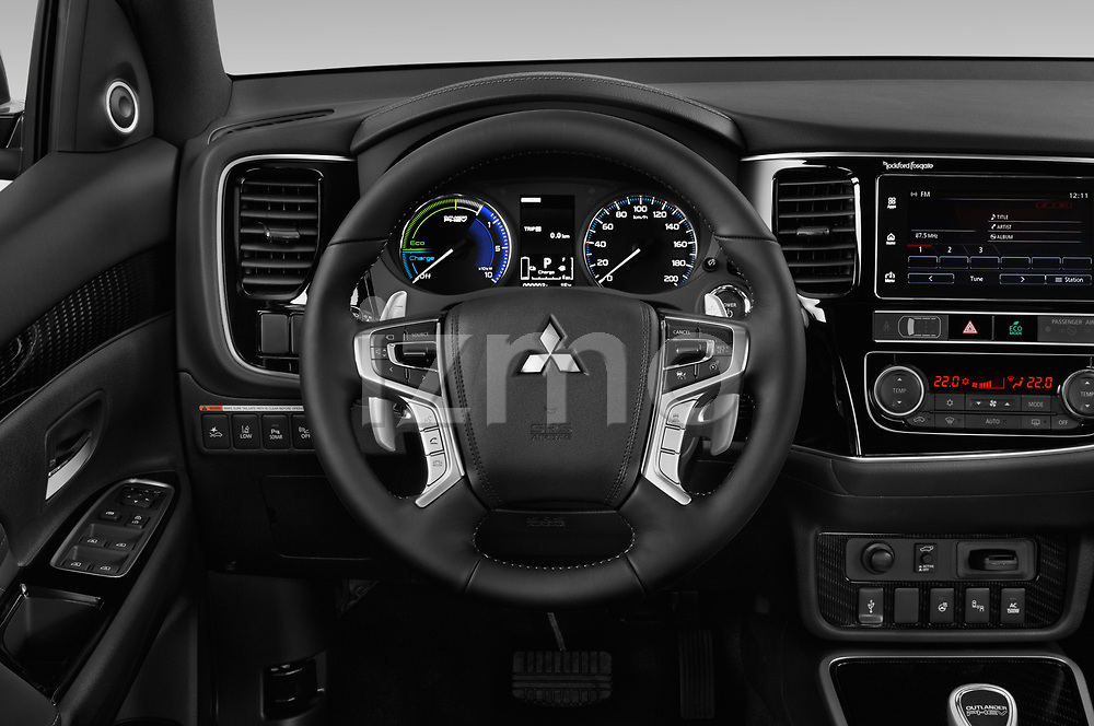 Car pictures of steering wheel view of a 2019 Mitsubishi Outlander PHEV Instyle 5 Door SUV