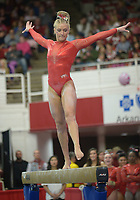 NWA Democrat-Gazette/ANDY SHUPE<br />Arkansas' Sarah Shaffer competes Friday, Jan. 12, 2018, in the beam portion of the 11th-ranked Razorbacks' meet with sixth-ranked Kentucky in Barnhill Arena in Fayetteville. Visit nwadg.com/photos to see more photographs from the meet.