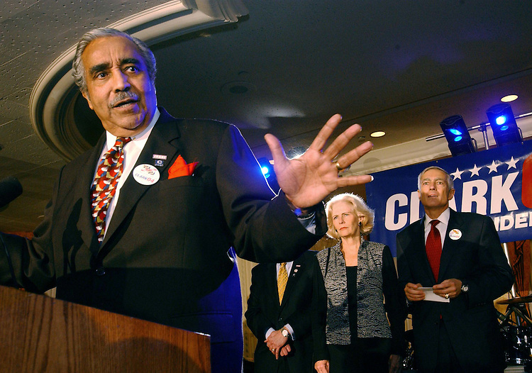 "10/29/03.""C COMPANY"" RECEPTION FOR WESLEY CLARK--Gert and Wesley K. Clark look on as Rep. Charles B. Rangel, D-N.Y., speaks during a ""low-dollar"" fundraising event, at the Omni Shoreham Hotel in Washington, D.C., for Clark, a Democratic presidential candidate and retired general from Arkansas. The event, organized by young professional supporters, was attended by several hundred donors. .CONGRESSIONAL QUARTERLY PHOTO BY SCOTT J. FERRELL"