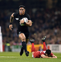 Malakai Fekitoa of New Zealand goes on the attack. Rugby World Cup Pool C match between New Zealand and Georgia on October 2, 2015 at the Millennium Stadium in Cardiff, Wales. Photo by: Patrick Khachfe / Onside Images