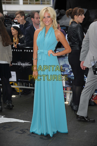 Pixie Lott (Victoria Louise Lott).'The Dark Knight Rises' European premiere at Odeon Leicester Square cinema, London, England..18th July 2012.full length blue halterneck dress hand on hip.CAP/CAS.©Bob Cass/Capital Pictures.