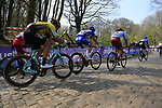 Marco Haller (AUT) Katusha Alpecin, Arnaud Demare (FRA) Groupama-FDJ and Danny Van Poppel (NED) Team Jumbo-Visma on the the first ascent of the Kemmelberg during the 2019 Gent-Wevelgem in Flanders Fields running 252km from Deinze to Wevelgem, Belgium. 31st March 2019.<br /> Picture: Eoin Clarke | Cyclefile<br /> <br /> All photos usage must carry mandatory copyright credit (© Cyclefile | Eoin Clarke)