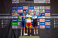 Picture by Alex Whitehead/SWpix.com - 30/09/2018 - Cycling - UCI 2018 Road World Championships - Innsbruck-Tirol, Austria - Elite Men's Road Race - Alejandro Valverde of Spain (Gold), Romain Bardet of France (Silver) and Michael Woods of Canada (Bronze).
