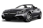 Stock pictures of low aggressive front three quarter view of 2017 Mercedes Benz SLC AMG 2 Door Convertible Low Aggressive