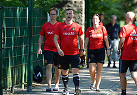 20170717 - RIJEN , NETHERLANDS :  Belgian head coach Ives Serneels (middle) , goalkeeper keeper coach Sven Cnudde (left)  and assistant coach Tamara Cassimon (r) pictured during a training session of the Belgian national women's soccer team Red Flames on the pitch of Rijen , on Tuesday 18 July 2017 in Rijen . The Red Flames are at the Women's European Championship 2017 in the Netherlands. PHOTO SPORTPIX.BE | DAVID CATRY