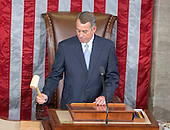 Outgoing Speaker of the United States House of Representatives John Boehner (Republican of Ohio) gavels the members to order for the last time in the US House Chamber in the US Capitol in Washington, DC on Thursday, October 29, 2015.<br /> Credit: Ron Sachs / CNP