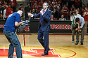 March 9, 2014: Head coach Tim Miles of the Nebraska Cornhuskers introduces the seniors Ray Gallegos (15) and Mike Peltz (12) before the game against Wisconsin Badgers at the Pinnacle Bank Arena, Lincoln, NE. Nebraska 77 Wisconsin 68.
