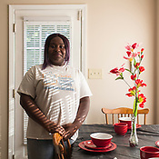 Durham, North Carolina - Fruday July 14, 2017 - Aarona Ramsey has lived in her apartment on Hart Street, in Durham, since June 20 after being evicted from her previous space.