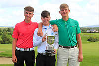 Josh McCabe (Roganstown) and Patrick Naughton (Limerick) with Sam Murphy (Portumna) winner of the Connacht U16 Boys Open 2018 at the Gort Golf Club, Gort, Galway, Ireland on Wednesday 8th August 2018.<br /> Picture: Thos Caffrey / Golffile<br /> <br /> All photo usage must carry mandatory copyright credit (&copy; Golffile | Thos Caffrey)