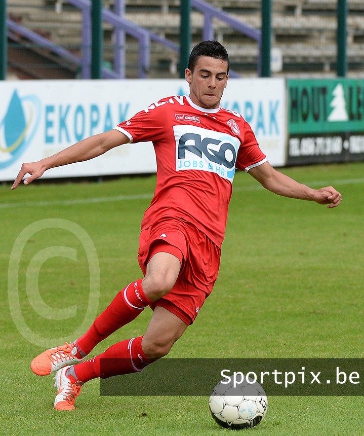 20140627 - HARELBEKE , BELGIUM:  Kortrijk's Gregory Mahau  pictured during a friendly match between SW Harelbeke and Belgian first division soccer team KV Kortrijk, the third match for Kortrijk of the preparations for the 2014-2015 season, Friday 27 June 2014 in Bissegem. PHOTO DAVID CATRY