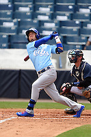 Daytona Cubs outfielder Albert Almora (6) at bat during a game against the Tampa Yankees  on April 13, 2014 at George M. Steinbrenner Field in Tampa, Florida.  Tampa defeated Daytona 7-3.  (Mike Janes/Four Seam Images)