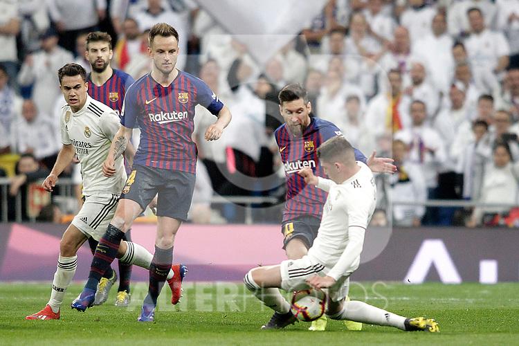 (L-R) Real Madrid CF's Sergio Reguilon, Fede Valverde and FC Barcelona's Ivan Rakitic and Leo Messi during La Liga match. March 02,2019. (ALTERPHOTOS/Alconada)
