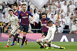 (L-R) Real Madrid CF's Sergio Reguilon, Fede Valverde and FC Barcelona's Ivan Rakitic and Leo Messi during La Liga match. March 02,2019. (ALTERPHOTOS/Alconada)