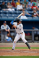 Biloxi Shuckers Max McDowell (4) at bat during a Southern League game against the Montgomery Biscuits on May 8, 2019 at MGM Park in Biloxi, Mississippi.  Biloxi defeated Montgomery 4-2.  (Mike Janes/Four Seam Images)