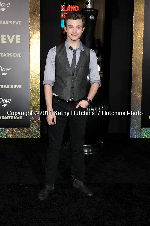 """LOS ANGELES - DEC 5:  Chris Colfer arrives at the """"New Year's Eve"""" World Premiere at Graumans Chinese Theater on December 5, 2011 in Los Angeles, CA"""