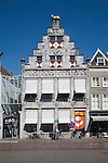 Historic facade of the public library building, Dordrecht, Netherlands