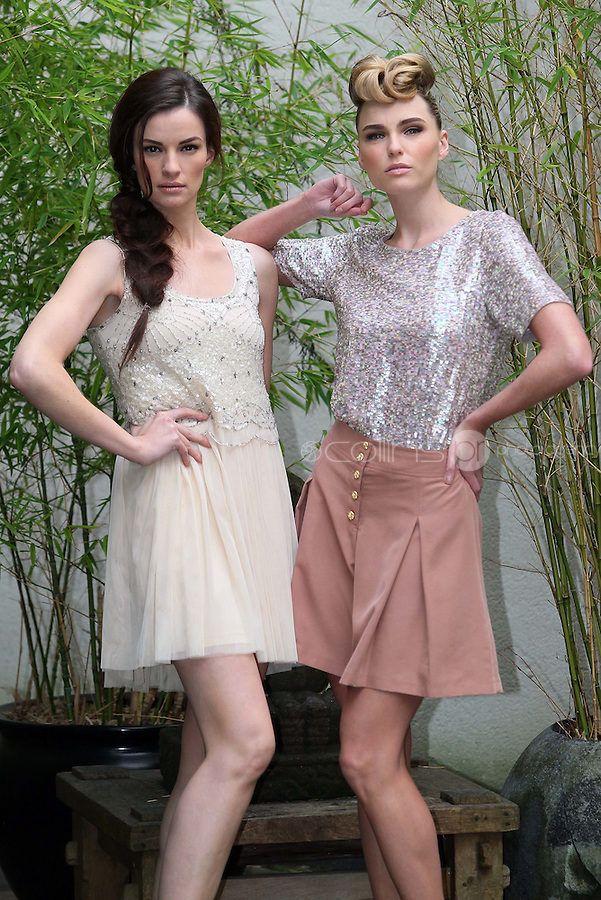 ***NO REPRODUCTION FEE PICTURE***.01/02/12 Models Karen Fitzpatrick wears a Cream Sequin Dress at EUR80 and Sarah Morrissey wears a Sequin T-Shirt at EUR80 and Sand Culottes at EUR35 pictured at the Morrison Hotel, Dublin this morning at the launch of the A Wear Spring Collection 2012...Picture Colin Keegan, Collins, Dublin. .***NO REPRODUCTION FEE PICTURE***