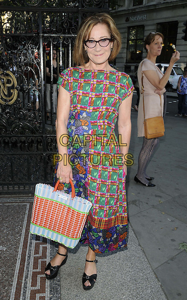 Zoe Wanamaker.The 'The Queen: Art & Image' charity party, National Portrait Gallery, London, England..July 23rd, 2012.full length green red orange check top glasses blue purple floral print skirt bag purse .CAP/CAN.©Can Nguyen/Capital Pictures.