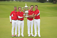 Torben Henriksen Nyehus (Team Manager), John Axelsen, Nicolai Hojgaard and Rasmus Hojgaard team Denmark winners of the World Amateur Team Championships Eisenhower Trophy 2018, Carton House, Kildare, Ireland. 08/09/2018.<br /> Picture Fran Caffrey / Golffile.ie<br /> <br /> All photo usage must carry mandatory copyright credit (&copy; Golffile | Fran Caffrey)