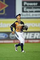 Wilmington Blue Rocks left fielder Alfredo Escalera (24) tracks a fly ball during a game against the Lynchburg Hillcats on June 3, 2016 at Judy Johnson Field at Daniel S. Frawley Stadium in Wilmington, Delaware.  Lynchburg defeated Wilmington 16-11 in ten innings.  (Mike Janes/Four Seam Images)