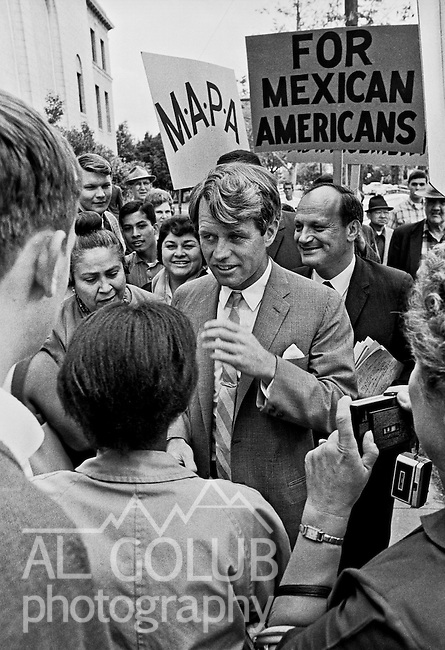 "Stockton, California, March 1967.--RFK came to Stagg High School to attend a senate committee hearing on the conditions of poor people.    Robert Francis ""Bobby"" Kennedy (November 20, 1925 - June 6, 1968), also called RFK, was the United States Attorney General from 1961 to 1964 and a US Senator from New York from 1965 until his assassination in 1968. He was one of US President John F. Kennedy's younger brothers, and also one of his most trusted advisors and worked closely with the president during the Cuban Missile Crisis. He also made a significant contribution to the African-American Civil Rights Movement..Photo by Al GOLUB/Golub Photography."
