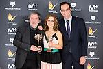 Javier Olivares (L) and Aura Garrido (C) win the award at Feroz Awards 2017 in Madrid, Spain. January 23, 2017. (ALTERPHOTOS/BorjaB.Hojas)