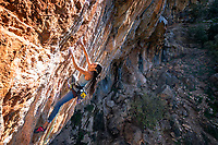 Daila Ojeda climbing The Battle of Succession 7 at the Elona wall, Leonido, Greece