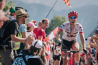 "Koen de Kort (NED/Trek-Segafredo) urging the crowd to make some noise coming through ""Dutch Corner"" (#7) on Alpe d'Huez<br /> <br /> Stage 12: Bourg-Saint-Maurice / Les Arcs > Alpe d'Huez (175km)<br /> <br /> 105th Tour de France 2018<br /> ©kramon"