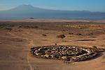 Kenya, near Amboseli, a traditional Maasai manyatta (village) with Kilimanjaro in background