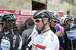 British National Champion Mark Cavendish (GBR) Omega Pharma-Quick Step at sign on in San Gimignano before the start of the 2014 Strade Bianche race over the white dusty gravel roads of Tuscany, Italy. 8th March 2014.<br /> Picture: Eoin Clarke www.newsfile.ie